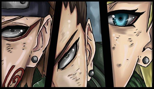Choji, Shikamaru, Ino.