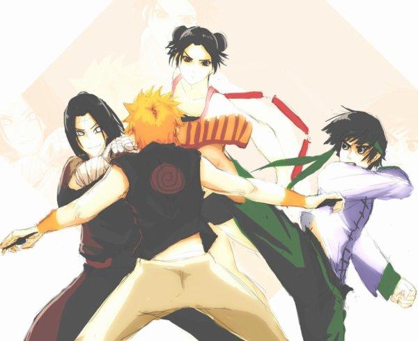 Neji Hyûga, Tenten, Rock Lee et Naruto Uzumaki