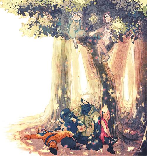 Kakashi Hatake, Naruto Uzumaki, Sakura Haruno, Sasuke Uchiwa, Obito Uchiwa et Rin Nohara