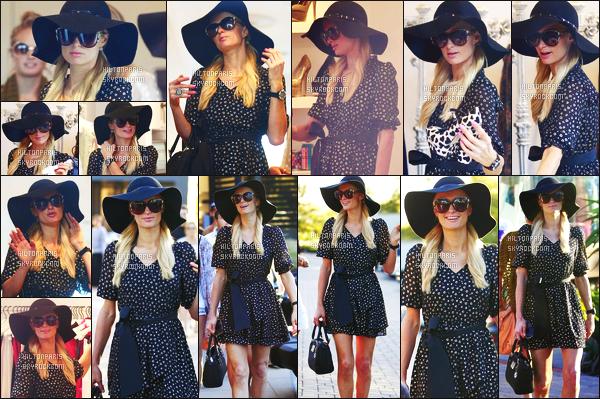 ------- 30/06/12:   Sublime Paris Hilton photographiée  s'offrant une séance de shopping à Los Angeles, dans la journée.  La sublime Paris est toute souriante sur les photos - Jadore beaucoup cette tenue simple, top, j'adore aussi le chapeau sombre. Top/Flop?  -------