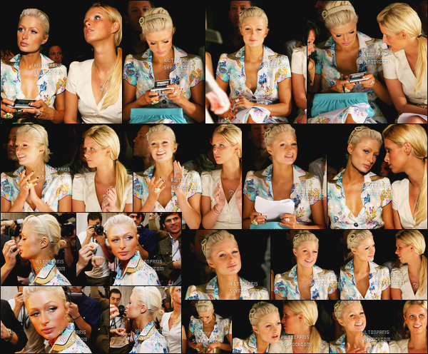 ------- 19/03/06:  La princesse Paris Hilton photographiée  assistant à la Fashion Week de « Louis Verdad » -  New York. Elle est accompagnée de sa soeur Nicky. Elles sont vraiment sublime toutes les deux. Paris est assez au top. J'adore tellement sa tenue.    -------