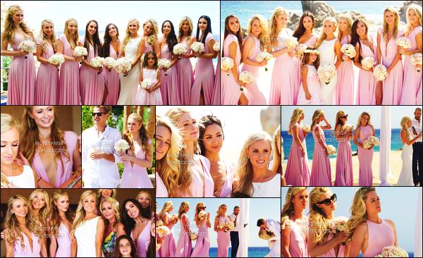 """--------------------------------------  """"""""RESEAUX SOCIAUX"""""""" Découvrez les dernières photos de mlle Paris toujours  actif sur Instagram ou Snapchat. Mai 2015 -   Quelques  photos simple de la sublime  Paris Hilton lors du mariage de sa cousine Brooke. Elle est belle dans sa robe rose. --------------------------------------"""