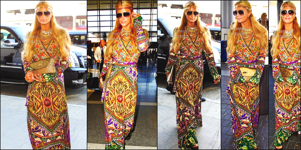 ------- 08/10/14: Notre merveilleuse  Paris Hilton   photographiée dans la journée vue à l'aéroport de LAX à Los Angeles. Look indienne pour allez à Dubai, j'aime beaucoup tout ses bijoux et sa coiffure. J'adore sa tenue dans l'ensemble. Top pour les lunettes.  -------