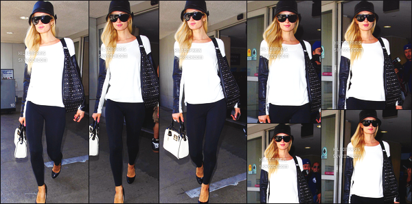 ------- 06/06/12:  Princesse Paris Hilton photographiée    arrivant dans l'aéroport de LAX dans la journée - à  Los Angeles.  La tenue est simple pour cette sortie, j'adore beaucoup aussi son petit sac à main blanc/noir, j'aime son petit top simple blanc. Top/Flop?    -------