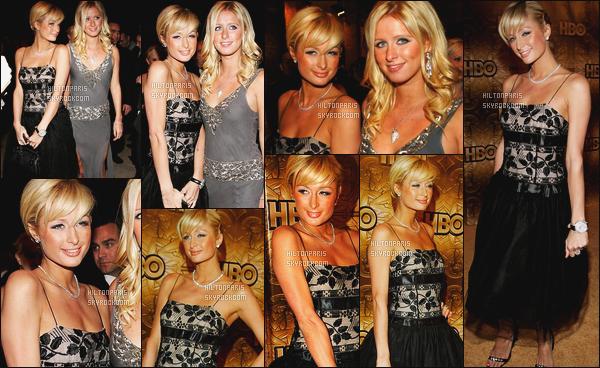 ------- 16/01/06: Notre princesse Paris Hilton photographiée  à l'événement « HBO Golden Globe » - dans  Beverly Hills. Elle est accompagnée de sa petite s½ur Nicky Hilton . Petit top pour cette robe. Gros top pour son chignon, elle est tellement sublime.   -------