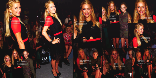 ------- 07/09/12:   Paris Hilton photographiée   assistant à la grande Fashion Week de « Charlotte Ronson  »  - à  New York.  Mlle Paris est vraiment trop belle sur les photos, j'adore tellement quand elle sourit. J'aime  beaucoupcette tenue noire/rouge. Top/Flop?     -------
