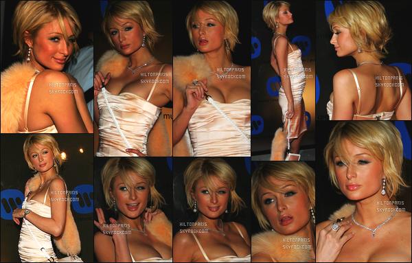 --------  08/02/06  :   La belle Paris Hilton photographiée à la grande soirée after des « Grammy  » - à Beverly Hills.  J'aime beaucoup cette robe, Paris est vraiment sublime cette robe moulante, courte lui va à ravie, gros top pour tout, j'adore cette coiffure.--------