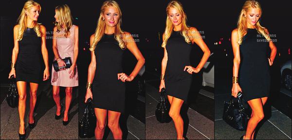 ------- 06/09/12:   La sublime Paris Hilton photographiée   avec Nicky quittant le restaurant « Four Seasons » -   New York.  Tenue toute simple pour notre belle Paris, robe noire, courte, j'aime beaucoup aussi sa coiffure. Top. Nicky est trop belle. Top/Flop?      -------