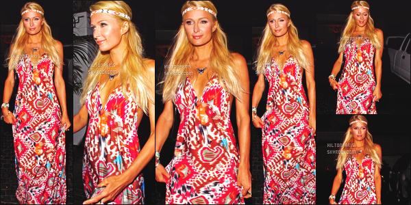 ------- 23/08/12:  Mlle Paris Hilton photographiée  dans la soirée quittant l'hôtel « Château Marmont » -  à Los Angeles.  J'aime moyen cette tenue, encore ses longues robe à rideaux trop de motifs, j'aime beaucoup les couleurs. J'adore aussi cette coiffure.      -------