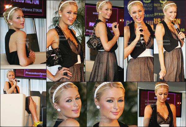 --------  27/06/06  :   La sublime Paris Hilton  photographiée en plein promotion pour son « album  »  -  en Cologne.   Petit flop pour la tenue, je trouve que cela fait gitane, quand même, mais j'aime seulement la coiffure tiré avec l'accessoire dans les cheveux. --------