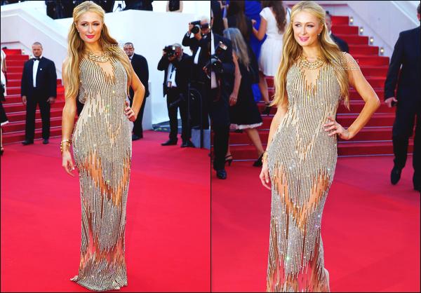 --------  18/05/15 :  La princesse Paris Hilton  photographié sur le tapis rouge du festival de Cannes - à Cannes.   Gros top pour la robe, sublime Paris Hilton ( Chaussure: Stuart Weiztman ~ Bijoux et Pochette: Bvlgari ~ Robe: Yousef Al-Jasmi ).   --------
