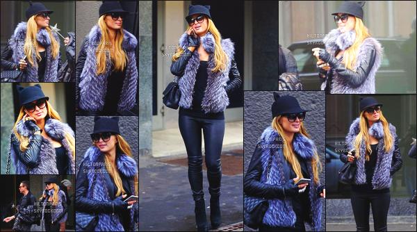 ------- 16/01/15: Mlle  Paris Hilton  photographiée      en compagnie de son ami Andrea Preti dans les rues de Milan - Italie.   Elle est  belle. J'adore cette tenue de Paris. Elle est tellement belle et classe. J'adore son bonnet et sa veste. Paris est tellement souriante.  -------