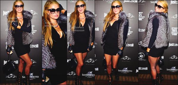 ------- 17/01/15:  Notre merveilleuse  Paris Hilton  photographiée     assistant à la Fashion Week de «  Just Cavalli  » - Milan.   Elle est  belle. J'adore beaucoup cette tenue de la Miss Paris, j'aime beaucoup cette robe, qui lui fait une poitrine vraiment sexy. Sublime.  -------