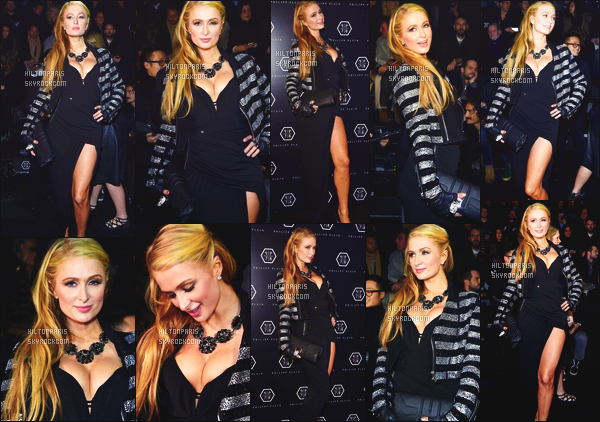 ------- 17/01/15:  La merveilleuse  Paris Hilton  photographiée     assistant à la Fashion Week de « Philipp Plein » - à Milan.   Elle est  belle. J'aime cette tenue qui fait trop classe, glamour. J'adore beaucoup la veste en fourrure qui apporte un plus à cette tenue.  -------