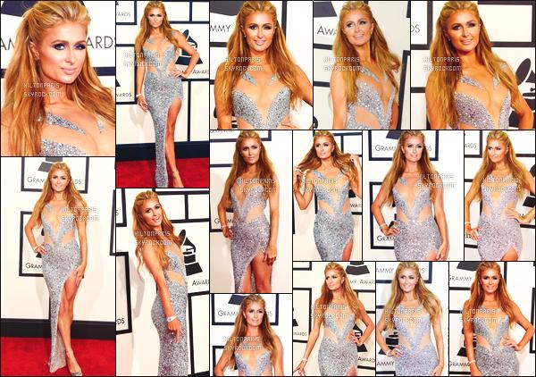 ------- 08/02/15: Mlle  Paris Hilton  photographiée      sur le tapis rouge de la cérémonie « Grammy Awards » -   Los Angeles.   Elle est assez belle et radieuse, j'adore trop cette longue robe et ses talons, Paris Hilton nous fait un grand top pour cette cérémonie.  -------