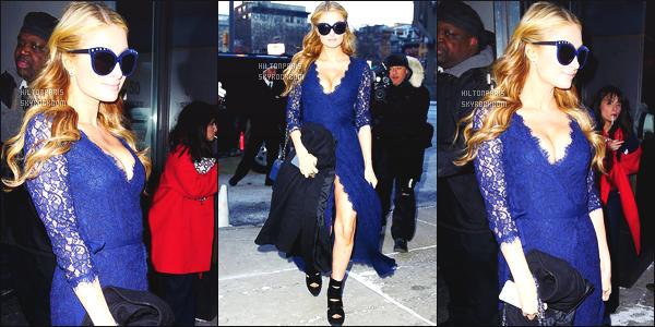 ------- 15/02/15:  Mlle Paris photographiée   arrivant/quittant à la Fashion Week de « Diane Von Furstenberg » New York.      Petit top pour cette tenue en dentelle longue, je trouve cela trop long, cette tenue est mal formée, on peut voir la culotte. Dommage. -------