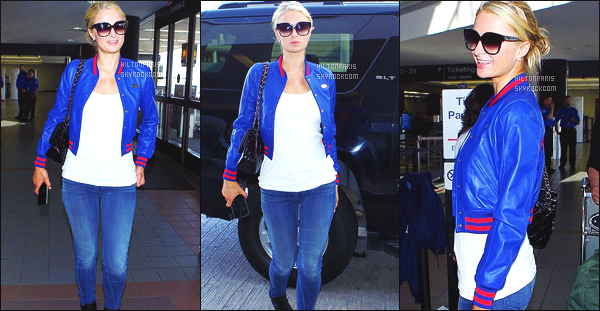 --------  12/05/15 :  Paris  Hilton photographié arrivant à l aéroport de « LAX  » dans la journée -  à  Los Angeles.   J'accorde un bon top pour Paris Hilton, j'adore beaucoup cette veste. Je la trouve sublime. ( Sac : Chanel  ~ Chaussure: Louboutin ).   --------