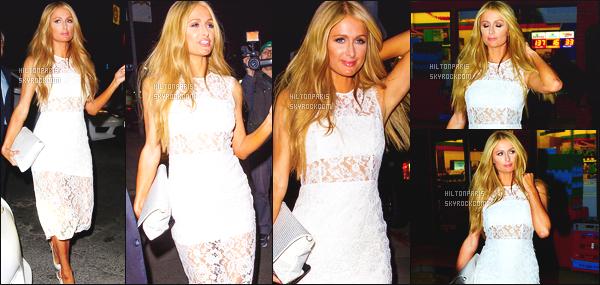 ------- 11/03/15: La sublime Paris  Hilton photographiée  tard dans la soirée, quittant une boite de nuit - à Hollywood.  Mlle Paris Hilton est vraiment toute belle sur les photos, toute souriante, j'aime bien sinon cette tenue toute blanche, courte, gros top. -------