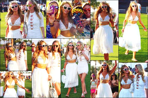 ------- 10/04/15: La sublime Paris Hilton  assistant ' avec des amis au grand festival 'de musique Coachella - Californie.  Je lui accorde un énorme gros top pour la tenue toute blanche de Miss Paris, elle est classe et tellement parfaite. J'aime la tenue sur Paris. -------