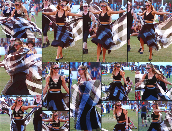 ------- 17/04/15: La sublime Paris Hilton  assistant ' avec des amis au grand festival 'de musique Coachella - Californie. Elle est tellement adorable et tres belle dans la robe, elle se prend pour un petit papillon avec les volants de sa robe. Gros top pour la tenue. -------