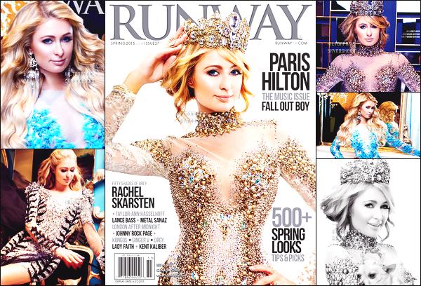 --------   • • Découvrez notre belle Paris Hilton en shoot pour le magazine « Runway » - 2015  Paris Hilton est top. J'adore beaucoup se shoot, elle est vraiment belle et au top. J'adore beaucoup les robes, tres fidele à Peter Pan.  --------