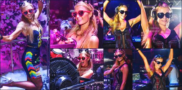 ------- 08/08/15: La princesse  Paris Hilton  photographiée   entrain de mixer à sa soirée de  Foam And Diamond   -  à Ibiza. Paris est classe dans la tenue, je lui met un gros top. J'aime trop la robe tres original, top pour les lunettes en coeur. Elle est mignonne.  -------
