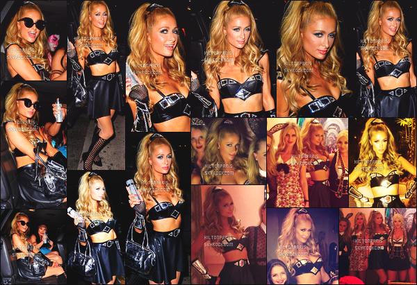 --------  31/10/15 :   Paris Hilton photographié dans la nuit, se rendant à la soirée de « Halloween » - Los Angeles.  Super se déguisement à notre belle Paris qui est en guerrière galaxie. Je lui accorde un gros top. J'aime beaucoup aussi sa chevelure tiré.  --------