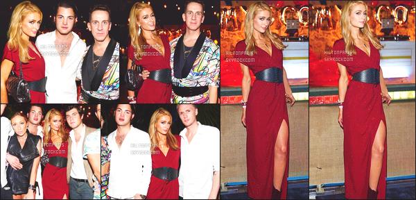 --------  02/12/15 :  La sublime Paris H. photographié à la fête « Art Basel » organisé par Jeremy Scott. - à Miami.  Tous pleins de photos posté sur son compte Instagram. Paris est toute toute sublime dans cette longue robe rouge, j'adore trop. Gros top.   --------