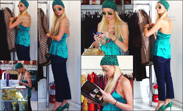 ------- 09/01/07 : La miss Paris Hilton photographiée  entrain de faire du shopping dans la journée - dans   Los Angeles. Gros top pour ses cheveux. Je deteste beaucoup cette tenue, c'est horrible se vert et ses talons qui ne va pas du tout avec le pantalon large.  -------