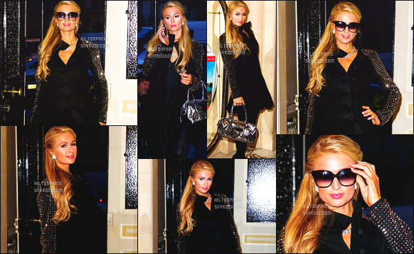 --------  11/12/15  :  Paris Hilton assistant à la conférence de presse « Smart LoveLocks » dans la soirée  - à Paris.  La sublime Paris est toute mignonne dans cette tenue, je suis tres fan de cette veste qui va bien à la robe. Gros top aussi pour ses lunettes.   --------