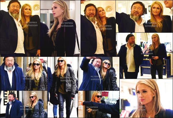 --------  17/01/16  :  La sublime Paris Hilton photographié avec Ai Weiweià la boutique « Le bon marché »  - à Paris.  J'aime la tenue à Paris. Gros top. J'adore beaucoup son bas qui va vraiment bien avec les chaussures et les lunettes de soleil, je suis tres fan.  --------