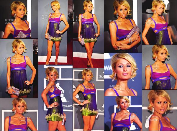 ------- 08/02/09: La jolie Paris  Hilton photographiée  photographiée assistant à la cérémonie « Grammy » -   Los Angeles.  Paris Hilton toujours autant souriante, elle est au top dans cette coiffure courte, je lui accord un gros top vraiment pour cette robe courte.       -------