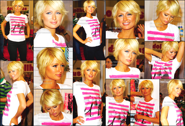 ------- 31/08/07 : Magnifique  Paris Hilton  photographiée en plein promotion pour sa ligne de vêtements -   Los Angeles.  Je n'aime pas trop cette tenue, je trouve cela trop simple pour un grand événement.  J'adore beaucoup ses cheveux court. Sublime et top.  -------