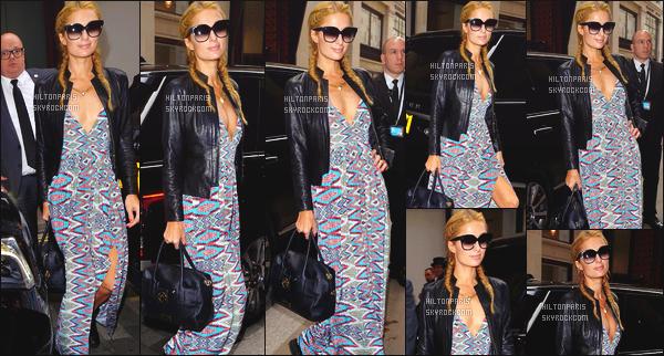 ------- 24/04/16: La merveilleuse Paris Hilton photographiée dans la journée arrivant dans la grande ville de Londres.  J'aime beaucoup la veste en cuire, mais petit flop pour la longue robe qui fait encore rideaux mais bon c'est le style que Paris aime porter.    -------