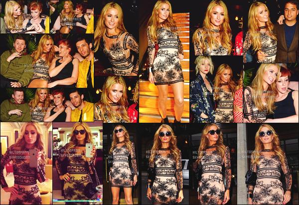 ------- 27/04/16: Merveilleuse Paris Hilton photographiée  dans la soirée dans une fête au restaurant   Ours  - à  Londres.   J'aime beaucoup cette tenue, Paris nous fait vraiment un gros top la. J'adore trop les motifs et la couleur de la robe, top pour la coiffure.  -------