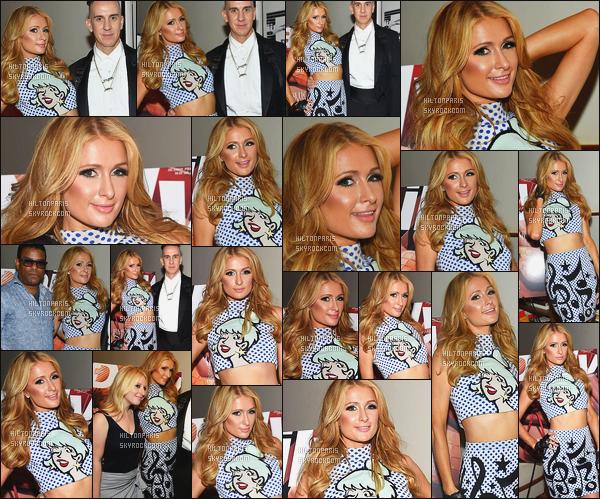 ------- 02/06/16:  Notre sublime Paris  Hilton photographiée  à l'événement de la fête de  The Daily Summer  -  New York. Top pour la tenue (Jeremy Scott). Lors de la soirée, Paris porte des botinnes noire et non ses bottes. Elle est hyper jolie, j'adore tellement. -------