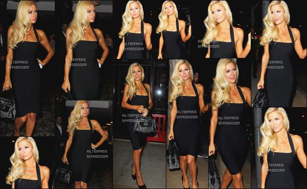 ------- 09/10/11:  Princesse Paris Hilton photographiée [/g ] arrivant dans la soirée « Mercato Di Vetro » à West Hollywood. J'aime beaucoup cette robe, elle est toute jolie et classe dans cette robe si moulante, j'adore beaucoup aussi la coiffure longue sur le coté.   -------