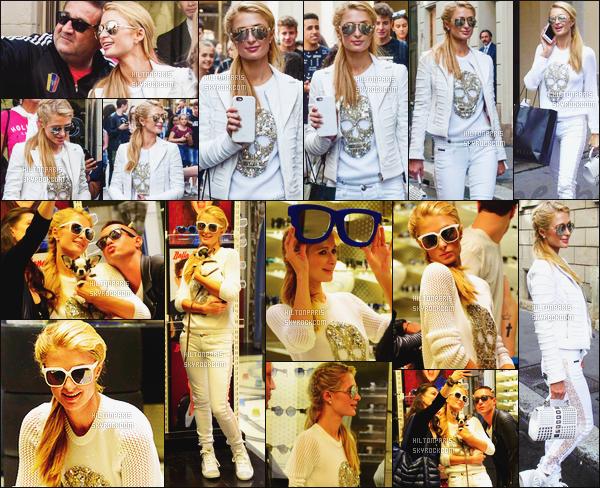 ------- 15/06/16:  Notre princesse Paris Hilton photographiée dans la journée entrain de faire du shopping  seule -  Milan  Puis aussi vue avec plein de fans qui été content de voir Paris. Wow j'adore beaucoup la tenue, elle lui va trop bien, gros top pour elle. -------