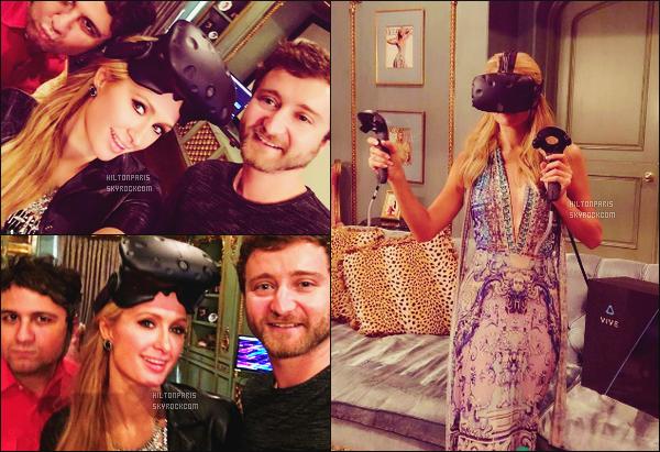 """--------------------------------------  """"""""RESEAUX SOCIAUX"""""""" Découvrez les dernières photos de mlle Paris toujours  actif sur Instagram ou Snapchat. Juin 2016 -    Mlle Hilton essayant un casque virtuel de HTC Vive. C'est sa nouvelle folie. Elle y est en photo avec des pro dans se domaine. --------------------------------------"""