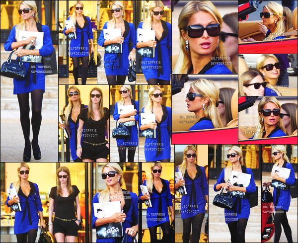 --------  28/11/11  :    La sublime Paris Hilton  photographiée avec Nicky  entrain de faire du shopping  -   à Los Angeles.   Petit top pour cette tenue, j'aime beaucoup cette tunique bleue, cela change de ses habitudes. Elle est vraiment toute belle Paris Hilton.--------