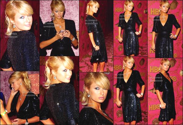 ------- 27/09/06: Notre princesse Paris  Hilton  photographiée quittant la soirée des  « HBO Post Emmy » -  Beverly Hills. Je suis amoureuse de cette robe, même si elle est assez simple, je suis tellement fan de cette queue de cheval longue. Gros top vraiment. -------
