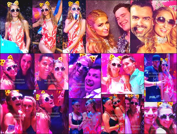 ------- 17/09/16: La princesse  Paris Hilton  photographiée   entrain de mixer à sa soirée de  Foam And Diamond   -  à Ibiza.    Et voila enfin la derniere date de ses prestations de DJ à Ibiza. J'aime beaucoup son maillot rouge à une pièce, elle est  trop belle, j'adore.   -------