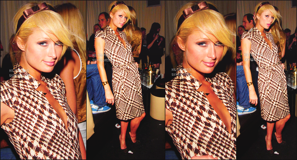--------  10/09/06  :   Sublime Paris Hilton photographiée  à la grande Fashion Week de   « Rosa Cha  »  -  à New York.   Petit flop pour cette cette tenue, je la trouve mal coupé, et je n'aime pas trop les motifs ni la couleur. J'aime la coiffure simple. Top/Flop?--------