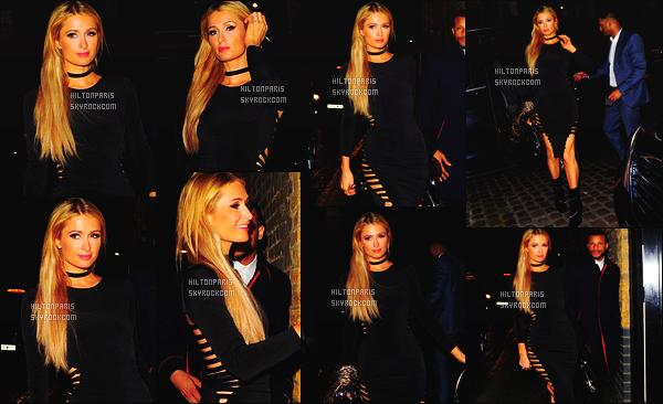 ------- 05/10/16: La sublime Paris Hilton seule  photographiée par les  paparazzis  dans la soirée  dans la ville de  Londres.  Elle est vraiment radieuse et sublime sur les photos, j'adore assez ses longs cheveux blond. Petit top pour la coupe de la robe. Top/Flop?  -------