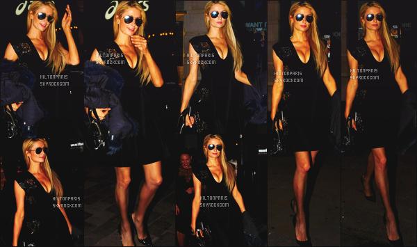 ------- 07/10/16: La princesse Paris Hilton photographiée allant dans la boite    Movida   tard dans la soirée  - à Londres.  Je suis hyper fan de la robe, elle est  sexy, je suis amoureuse de Paris, j'adore tellement le décolleté de Paris. Gros top pour elle. Top/Flop?  -------