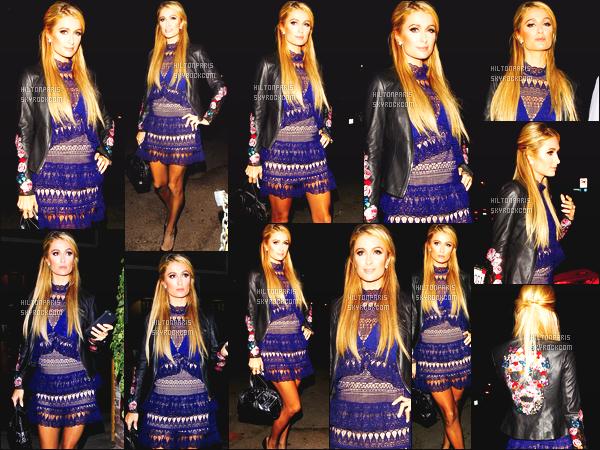 ------- 13/10/16: La sublime  Paris Hilton photographiée dans la soirée allant au restaurant  Delilah  - à West Hollywood.  J'adore beaucoup cette robe sur Paris Hilton, elle est trop jolie sur elle. Gros top pour cette veste en cuire, je suis hyper fan. Top/Flop? -------