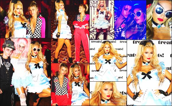 ------- 29/10/16: La magnifique Paris Hilton photographiée deguisé allant à une soirée pour    Halloween -   Los Angeles. J'adore beaucoup se déguisement,  Paris est en Alice, cela lui va vraiment se genre de tenue super sexy. Elle est avec Sofia. Top/Flop? -------