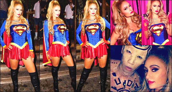 ------- 30/10/16: La magnifique Paris Hilton photographiée deguisé allant à une soirée pour    Halloween -   Los Angeles.  J'adore trop se déguisement, miss Paris est en SuperGirl, cela lui va vraiment se genre de tenue super sexy. J'adore ses cheveux. Top/Flop? -------