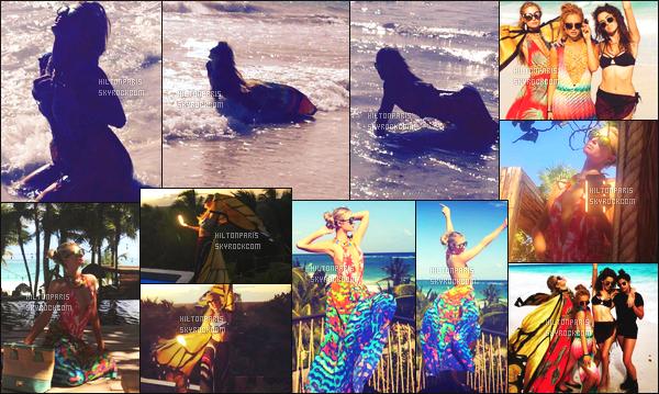 ------- 11/01/17: Notre trés  sublime  Paris Hilton photographiée  dans la journée sur la plage avec un ami -  au Mexique.   Je suis totalement fan de se candid, la miss Paris Hilton est trop mignonne avec ses petits macaron sur la tête. Top pour les lunettes de soleil. -------