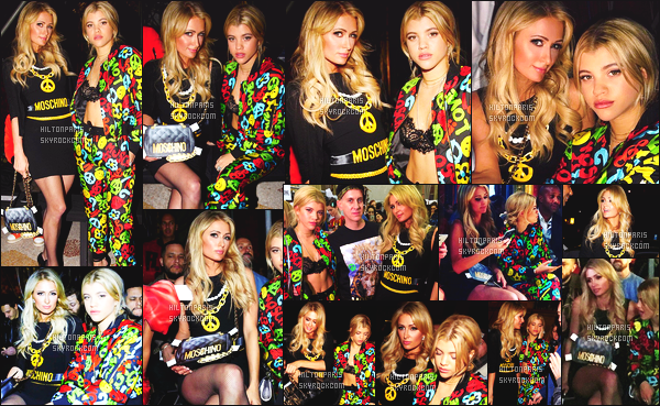 ------- 14/01/17: Notre magnifique Paris Hilton photographiée  assistant  à la Fashion Week de    Moschino    - dans Milan.  Elle est accompagnée de sa nouvelle meilleure amie Sofia Richie. J'aime tellement la robe courte qu'elle porte. Top cette mise en beauté. -------